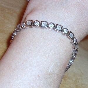 Jewelry - Silver Tone Square And Round Bezel Set CZ Bracelet